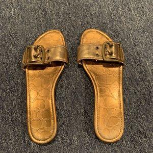 Gold COACH sandals never worn
